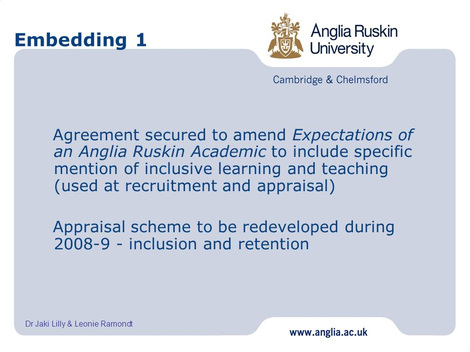 Dr Jaki Lilly & Leonie Ramondt Embedding 1 Agreement secured to amend Expectations of an Anglia Ruskin Academic to include specific mention of inclusi