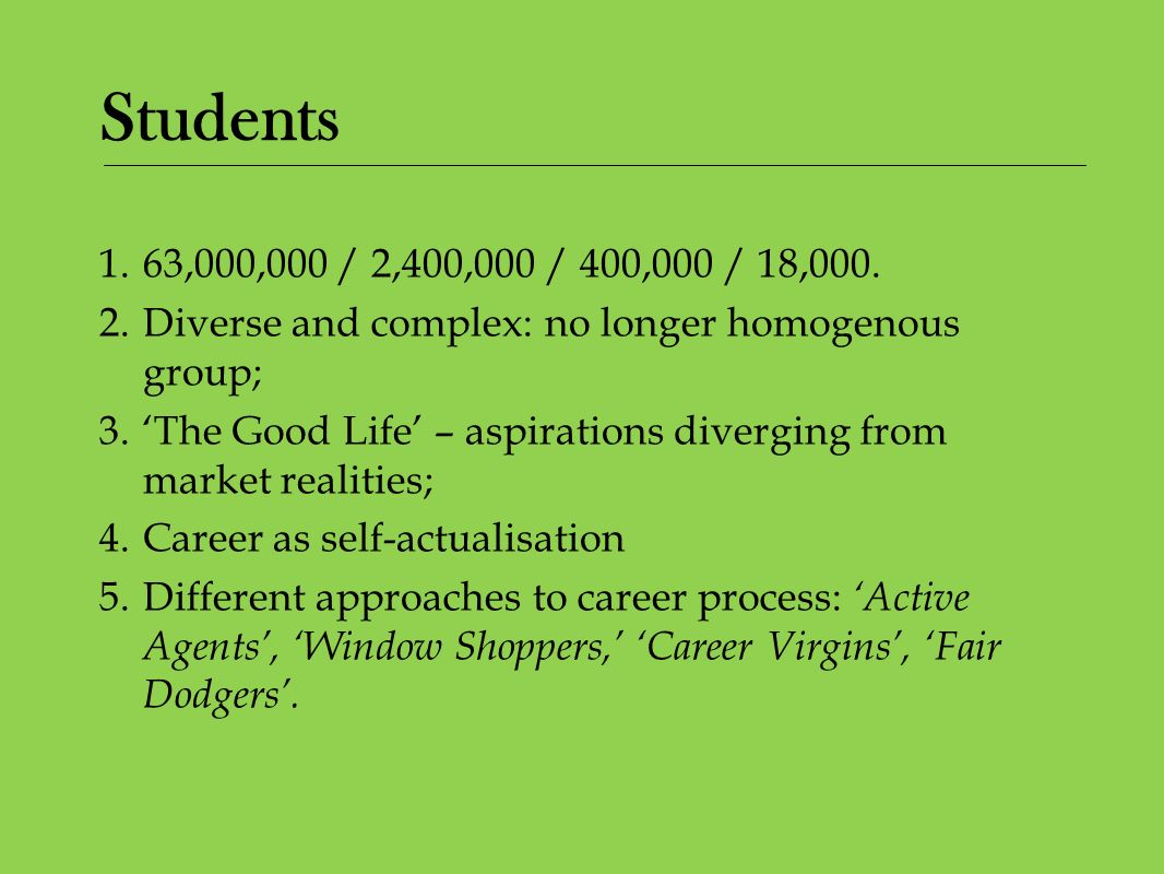 Students 1.63,000,000 / 2,400,000 / 400,000 / 18,000. 2.Diverse and complex: no longer homogenous group; 3.The Good Life – aspirations diverging from