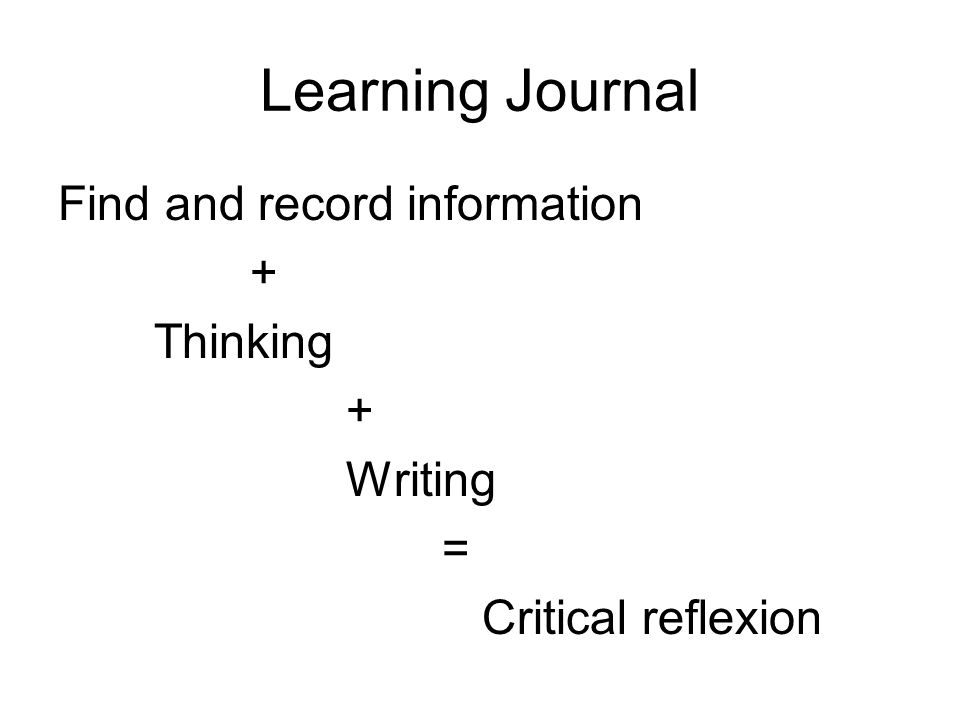 Learning Journal Find and record information + Thinking + Writing = Critical reflexion