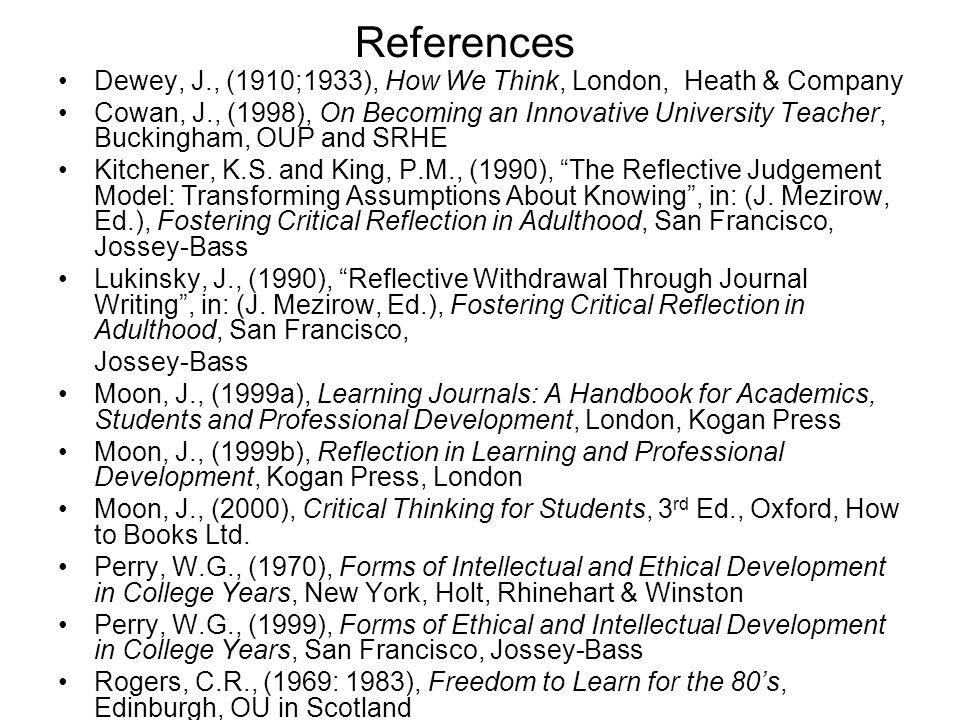 References Dewey, J., (1910;1933), How We Think, London, Heath & Company Cowan, J., (1998), On Becoming an Innovative University Teacher, Buckingham,