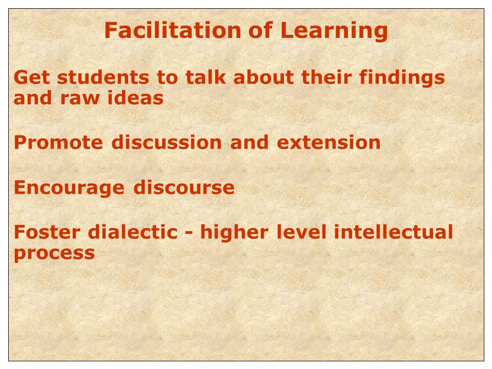Facilitation of Learning Get students to talk about their findings and raw ideas Promote discussion and extension Encourage discourse Foster dialectic