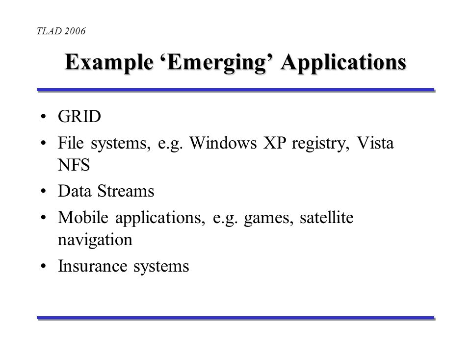TLAD 2006 Example Emerging Applications GRID File systems, e.g.