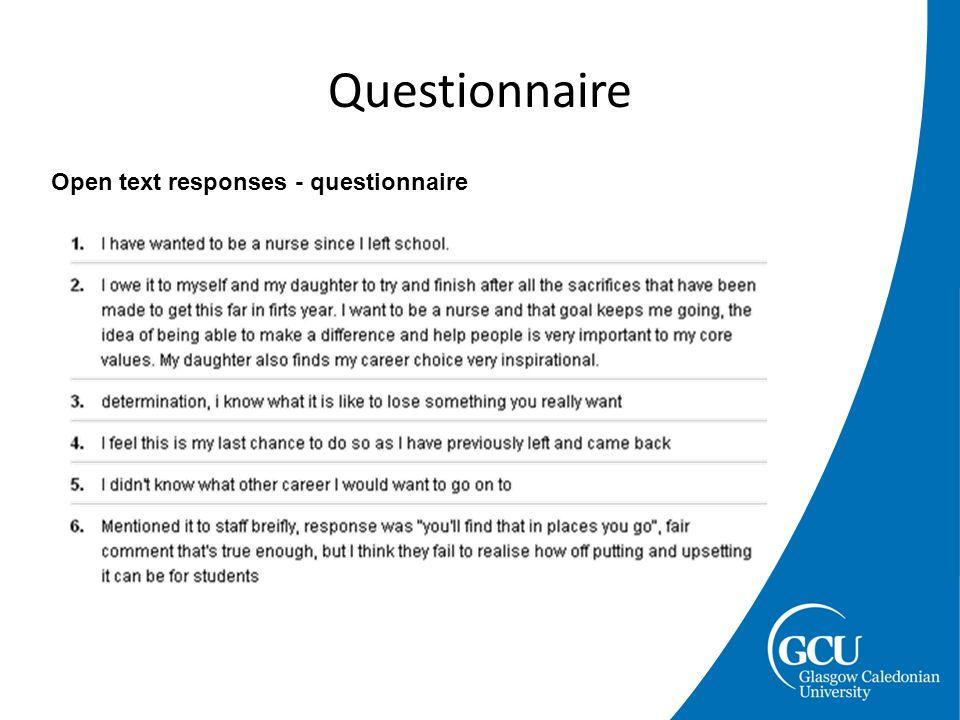 Questionnaire Open text responses - questionnaire