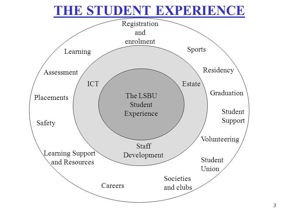 THE STUDENT EXPERIENCE Registration and enrolment Sports Residency Graduation Student Support Volunteering Student Union Societies and clubs Careers Learning Support and Resources Learning Assessment Placements Safety ICTEstate Staff Development The LSBU Student Experience