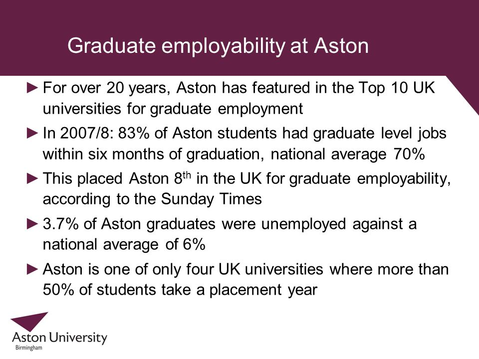 Graduate employability at Aston For over 20 years, Aston has featured in the Top 10 UK universities for graduate employment In 2007/8: 83% of Aston st