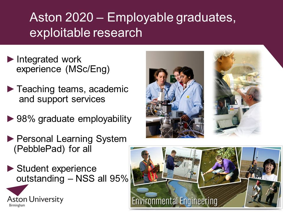 Aston 2020 – Employable graduates, exploitable research Integrated work experience (MSc/Eng) Teaching teams, academic and support services 98% graduat