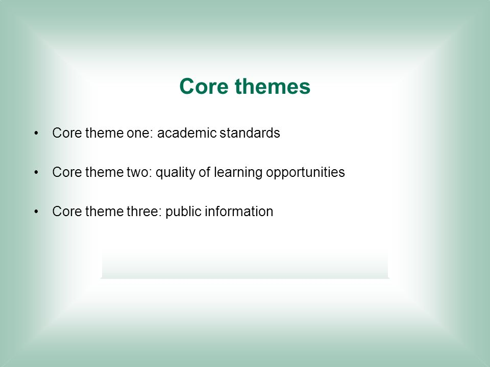Core themes Core theme one: academic standards Core theme two: quality of learning opportunities Core theme three: public information