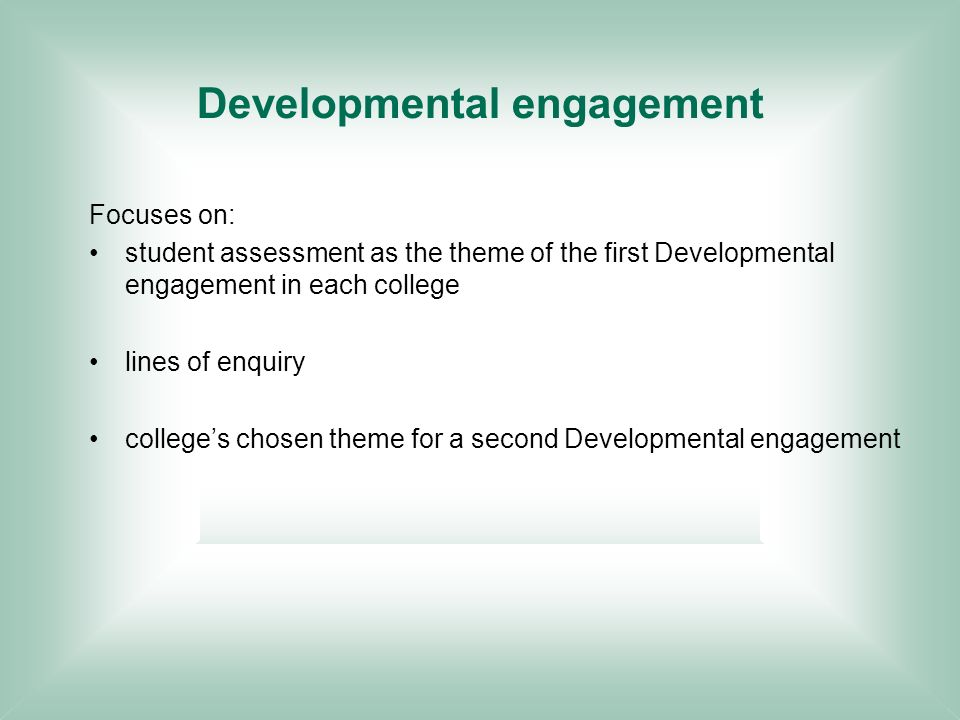 Developmental engagement Focuses on: student assessment as the theme of the first Developmental engagement in each college lines of enquiry colleges chosen theme for a second Developmental engagement