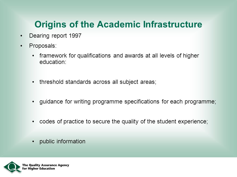 Origins of the Academic Infrastructure Dearing report 1997 Proposals: framework for qualifications and awards at all levels of higher education: threshold standards across all subject areas; guidance for writing programme specifications for each programme; codes of practice to secure the quality of the student experience; public information