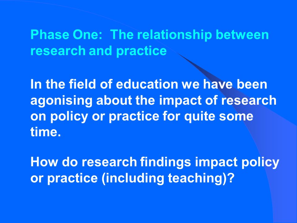 Phase One: The relationship between research and practice In the field of education we have been agonising about the impact of research on policy or practice for quite some time.
