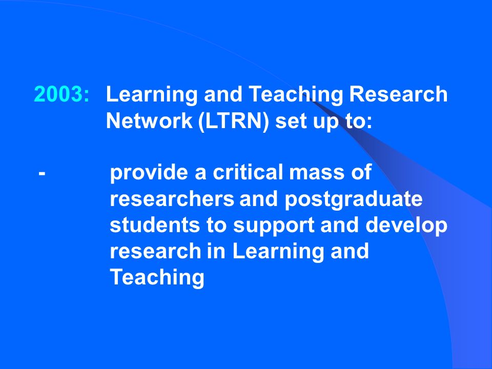 2003:Learning and Teaching Research Network (LTRN) set up to: -provide a critical mass of researchers and postgraduate students to support and develop research in Learning and Teaching