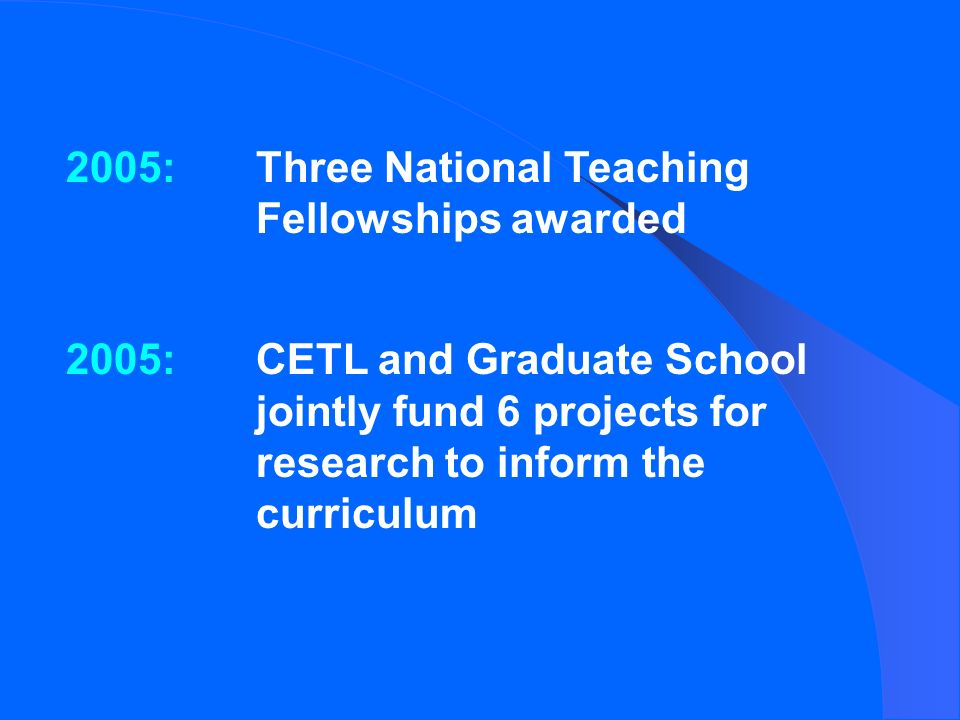 2005:Three National Teaching Fellowships awarded 2005:CETL and Graduate School jointly fund 6 projects for research to inform the curriculum
