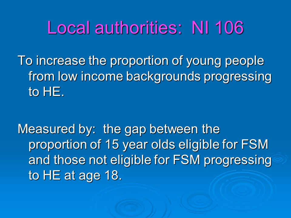 Local authorities: NI 106 To increase the proportion of young people from low income backgrounds progressing to HE.