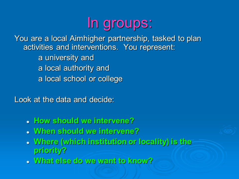 In groups: You are a local Aimhigher partnership, tasked to plan activities and interventions.