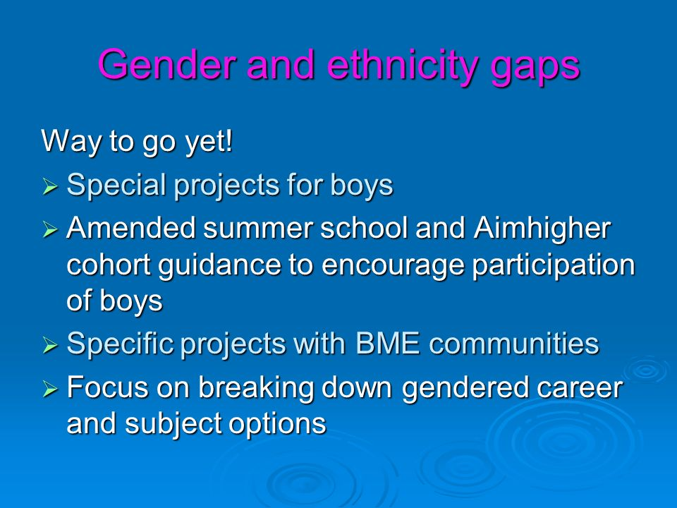 Gender and ethnicity gaps Way to go yet.