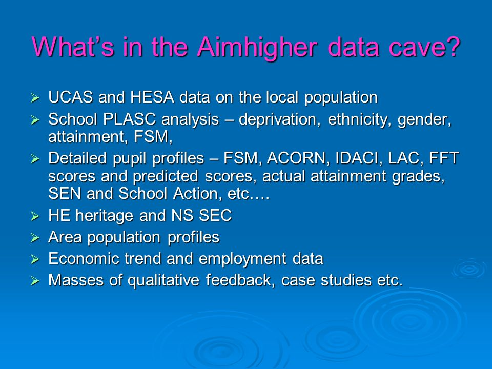 Assessing progress Annual statistical updates at local level Annual statistical updates at local level Compare cohort progress against whole school year group and against similar profile pupils not in the cohort – look for value added Compare cohort progress against whole school year group and against similar profile pupils not in the cohort – look for value added Longitudinal tracking Longitudinal tracking Case studies Case studies Regular reporting at local and area level Regular reporting at local and area level