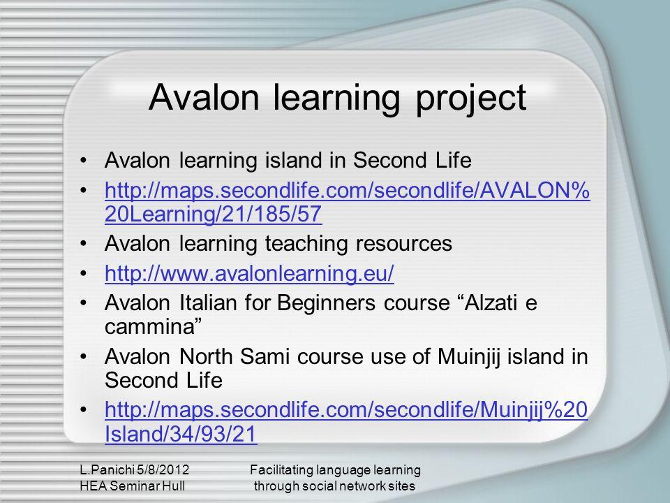 L.Panichi 5/8/2012 HEA Seminar Hull Facilitating language learning through social network sites Avalon learning project Avalon learning island in Seco