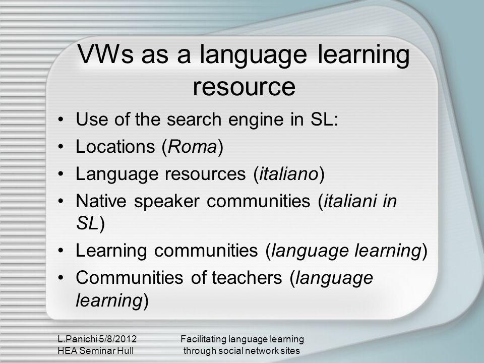 L.Panichi 5/8/2012 HEA Seminar Hull Facilitating language learning through social network sites Incidental language learning Social networks are being used for language learning (i.e.