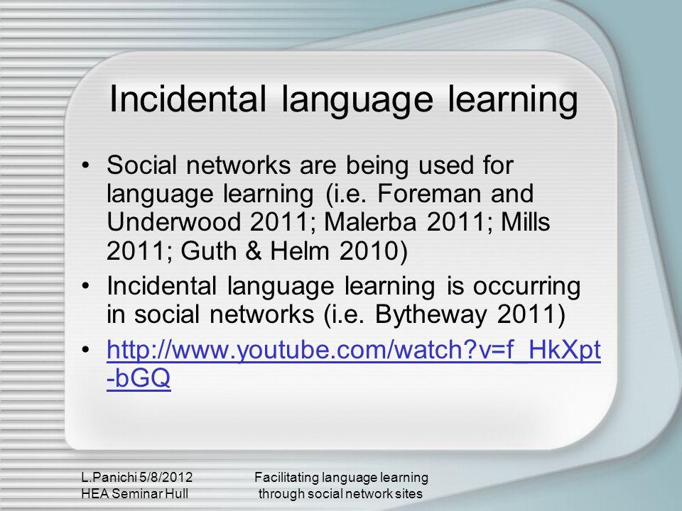 L.Panichi 5/8/2012 HEA Seminar Hull Facilitating language learning through social network sites Incidental language learning Social networks are being