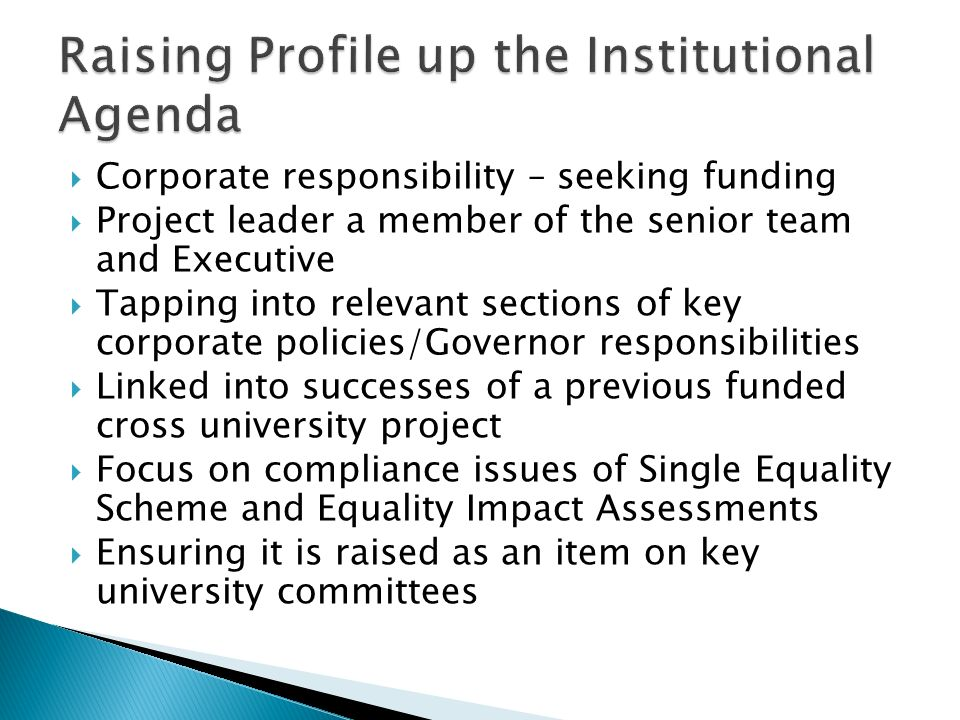 Corporate responsibility – seeking funding Project leader a member of the senior team and Executive Tapping into relevant sections of key corporate policies/Governor responsibilities Linked into successes of a previous funded cross university project Focus on compliance issues of Single Equality Scheme and Equality Impact Assessments Ensuring it is raised as an item on key university committees