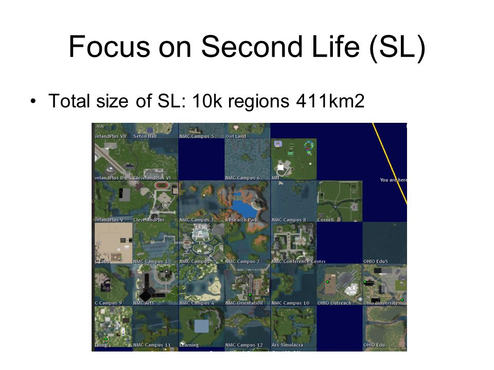 Focus on Second Life (SL) Total size of SL: 10k regions 411km2