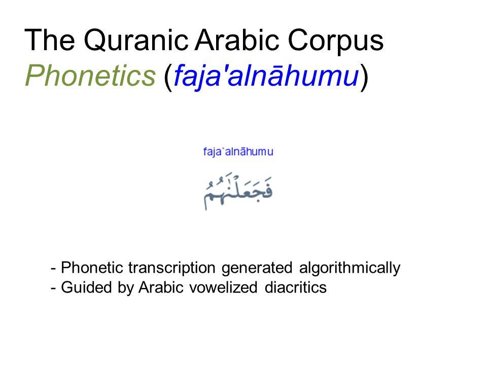 The Quranic Arabic Corpus Phonetics (faja'alnāhumu) - Phonetic transcription generated algorithmically - Guided by Arabic vowelized diacritics