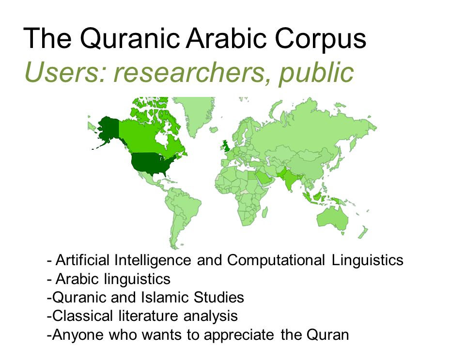 The Quranic Arabic Corpus Users: researchers, public - Artificial Intelligence and Computational Linguistics - Arabic linguistics -Quranic and Islamic