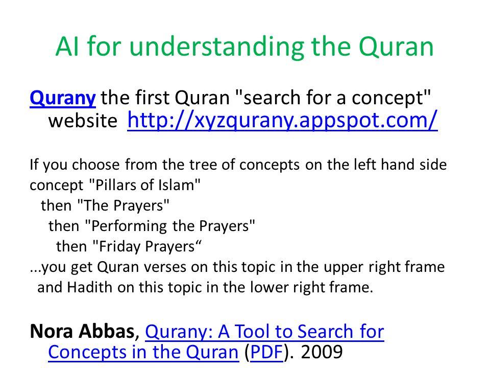 AI for understanding the Quran QuranyQurany the first Quran
