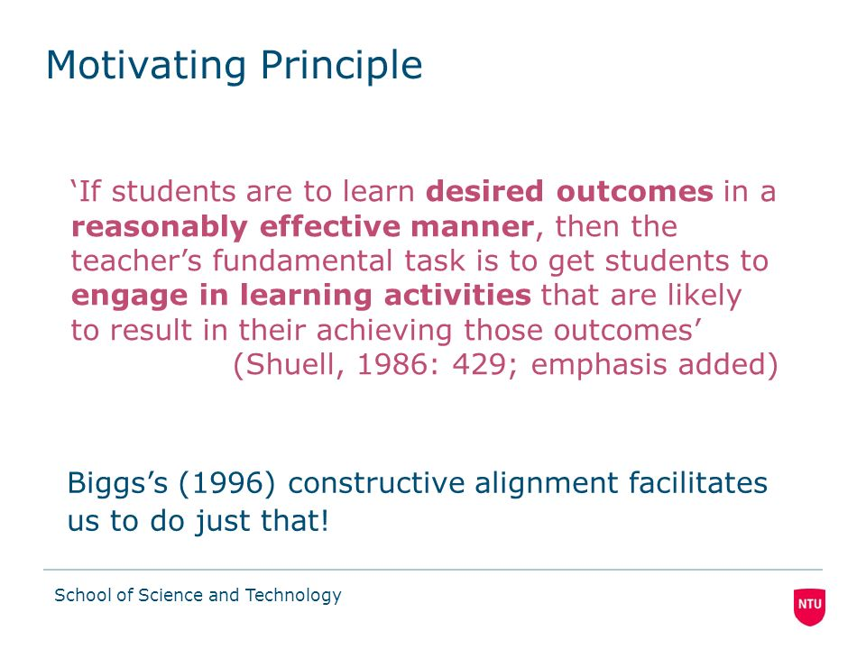 School of Science and Technology Constructive Alignment (Biggs, 1996) Outcome-based methodology for designing, promoting and assessing deep student le