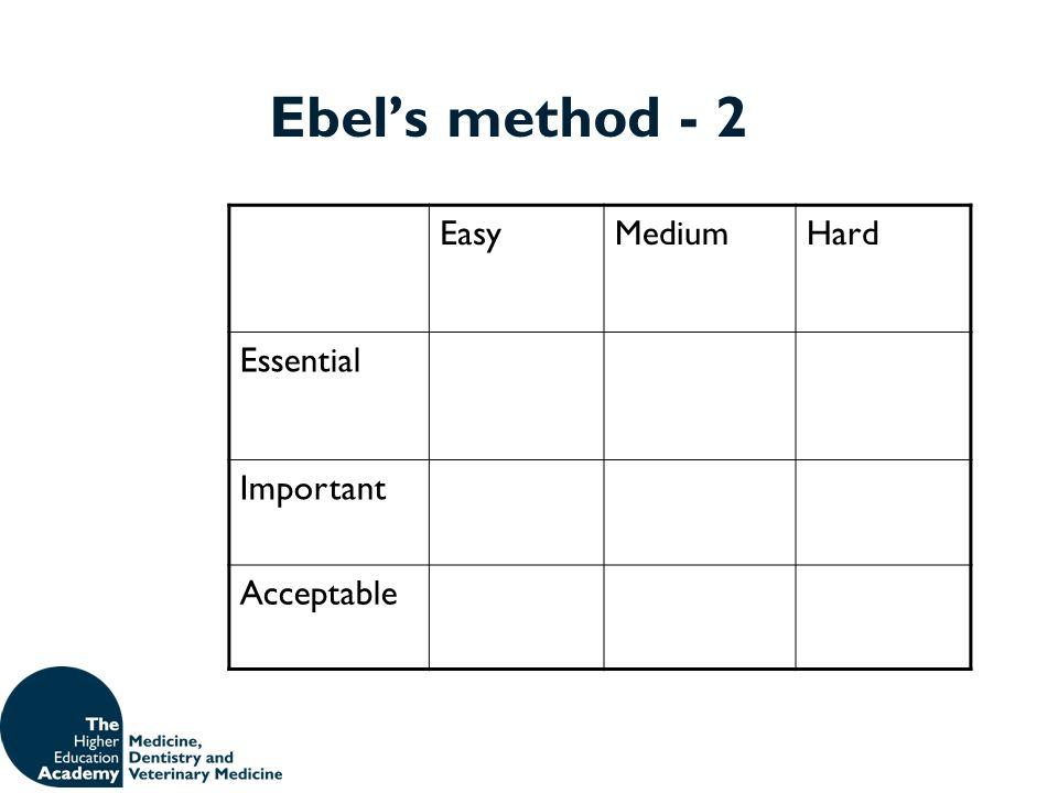 Ebels method - 2 EasyMediumHard Essential Important Acceptable