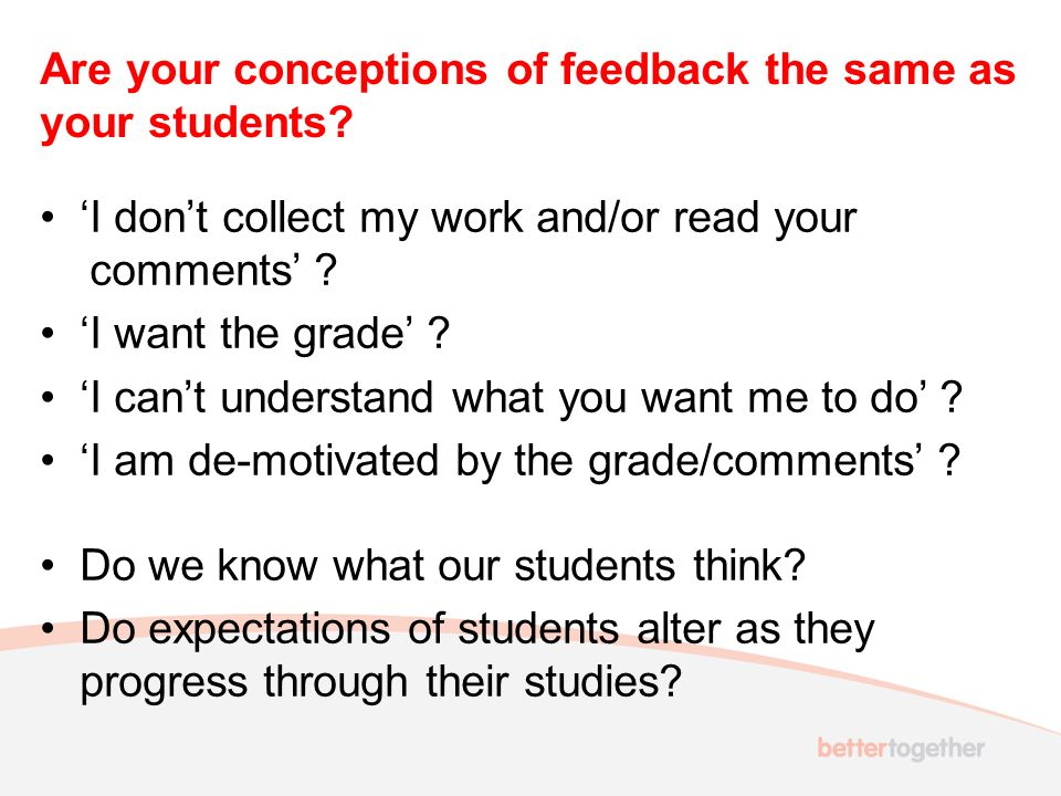 Break-out question 2 What types of assessment feedback are there.