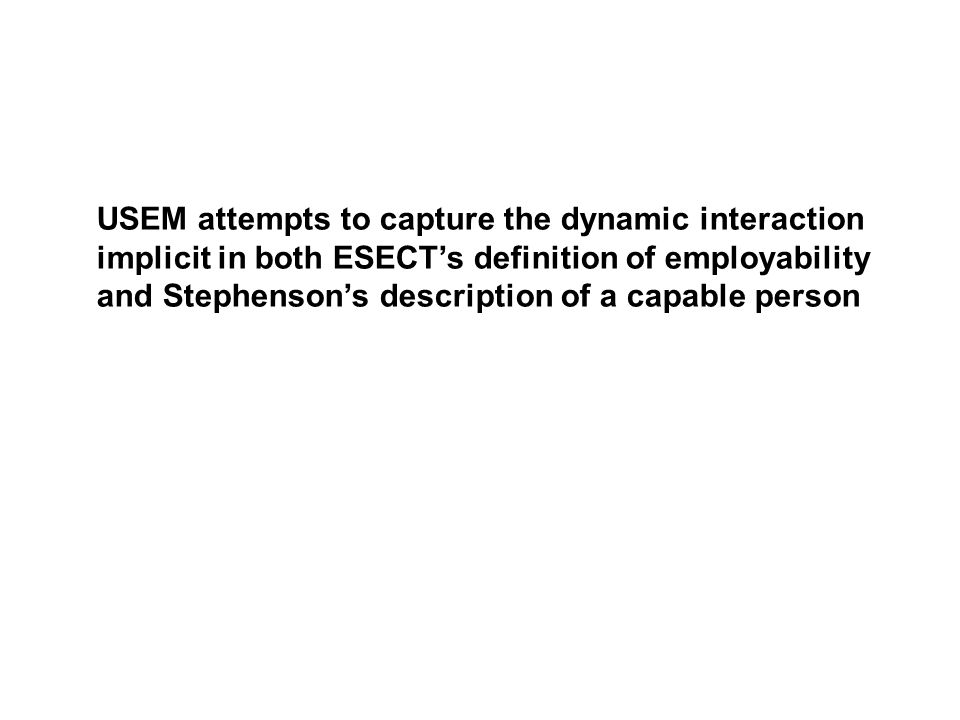 USEM attempts to capture the dynamic interaction implicit in both ESECTs definition of employability and Stephensons description of a capable person