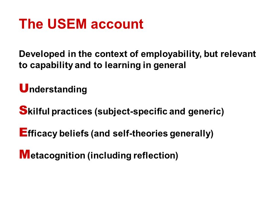 The USEM account Developed in the context of employability, but relevant to capability and to learning in general U nderstanding S kilful practices (subject-specific and generic) E fficacy beliefs (and self-theories generally) M etacognition (including reflection)