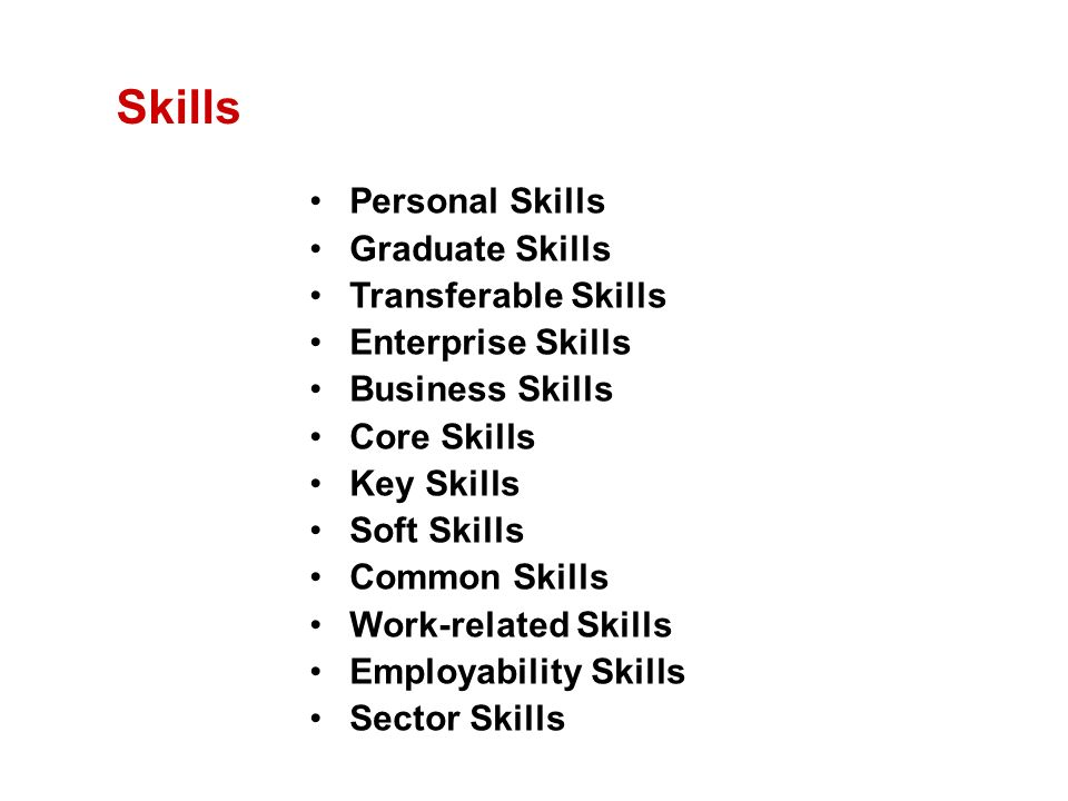 Skills Personal Skills Graduate Skills Transferable Skills Enterprise Skills Business Skills Core Skills Key Skills Soft Skills Common Skills Work-related Skills Employability Skills Sector Skills