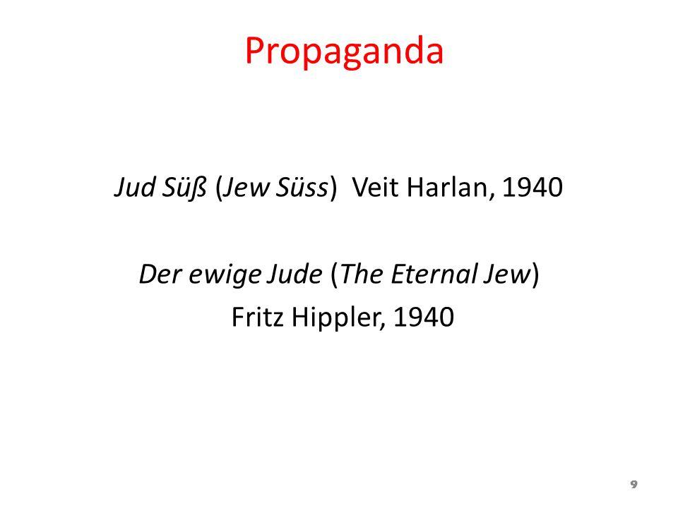 Propaganda Jud Süß (Jew Süss) Veit Harlan, 1940 Der ewige Jude (The Eternal Jew) Fritz Hippler, 1940 9