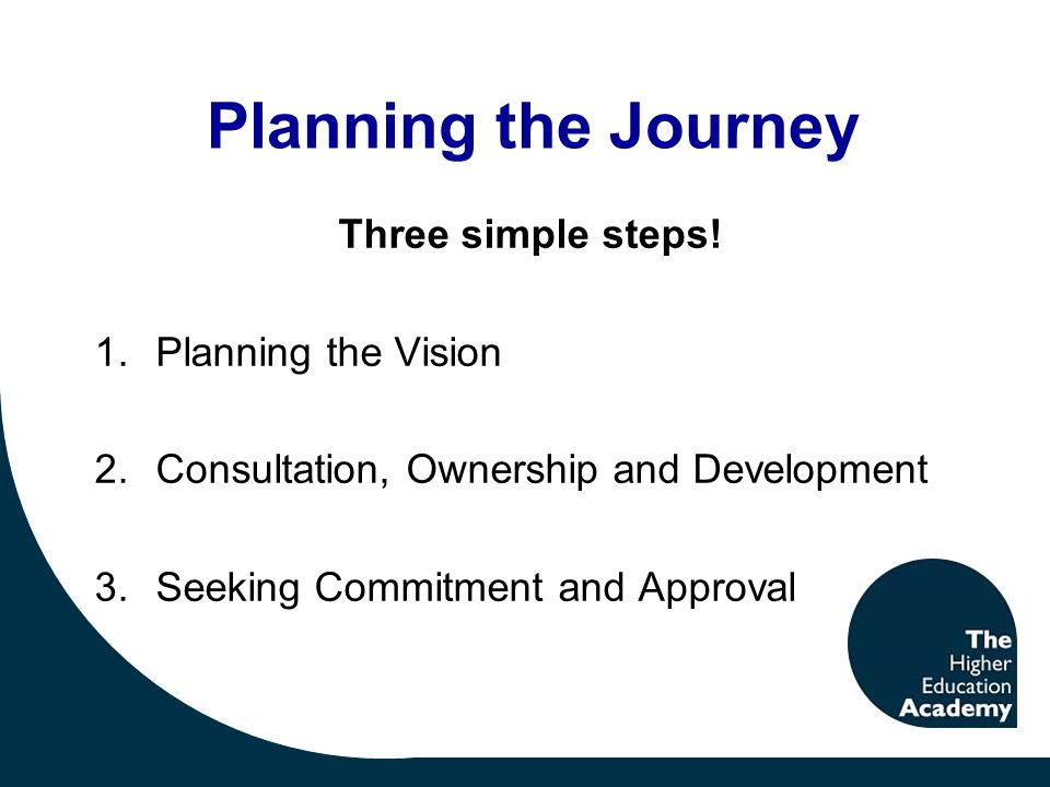 Planning the Journey Three simple steps.