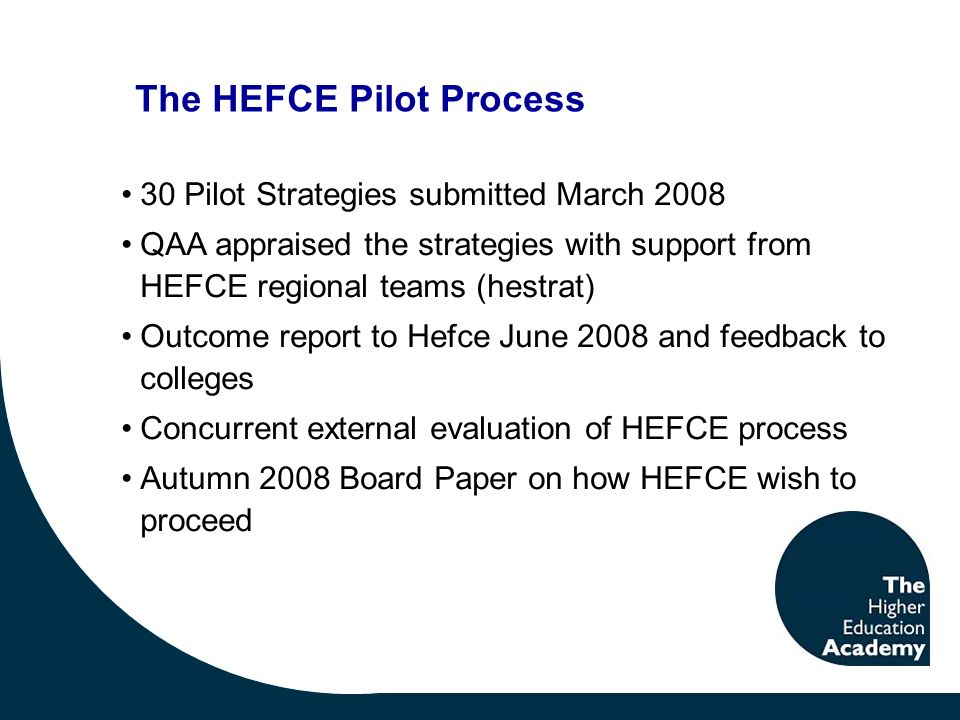 30 Pilot Strategies submitted March 2008 QAA appraised the strategies with support from HEFCE regional teams (hestrat) Outcome report to Hefce June 2008 and feedback to colleges Concurrent external evaluation of HEFCE process Autumn 2008 Board Paper on how HEFCE wish to proceed The HEFCE Pilot Process