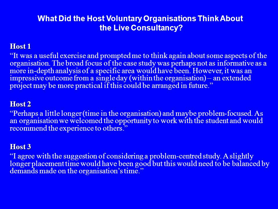 What Did the Host Voluntary Organisations Think About the Live Consultancy.