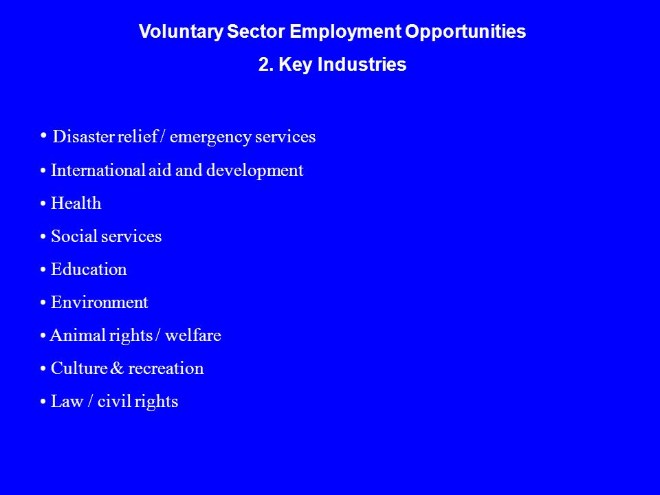 Voluntary Sector Employment Opportunities 2. Key Industries Disaster relief / emergency services International aid and development Health Social servi