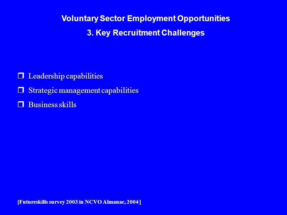 Voluntary Sector Employment Opportunities 3. Key Recruitment Challenges r Leadership capabilities r Strategic management capabilities r Business skill