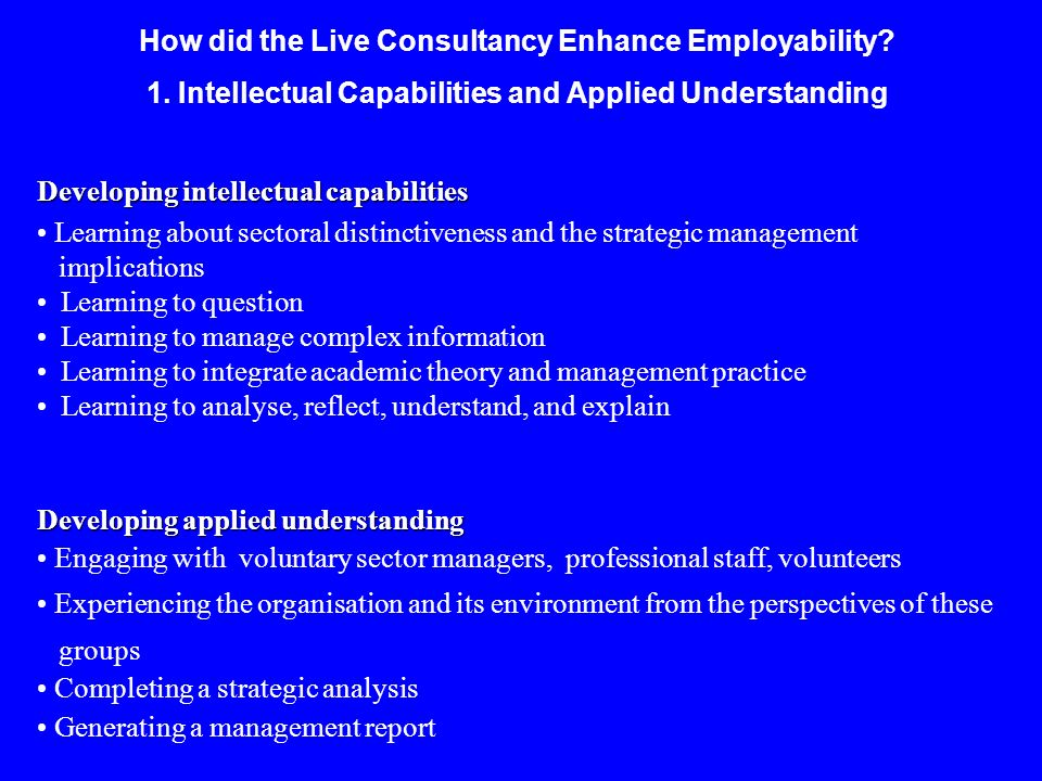 How did the Live Consultancy Enhance Employability? 1. Intellectual Capabilities and Applied Understanding Developing intellectual capabilities Learni