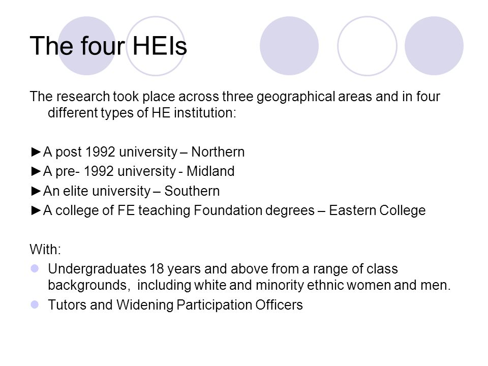 The four HEIs The research took place across three geographical areas and in four different types of HE institution: A post 1992 university – Northern