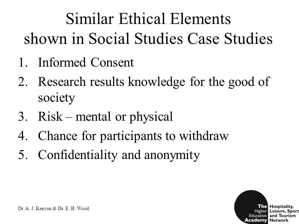 Dr. A. J. Kenyon & Dr. E. H. Wood Similar Ethical Elements shown in Social Studies Case Studies 1.Informed Consent 2.Research results knowledge for th
