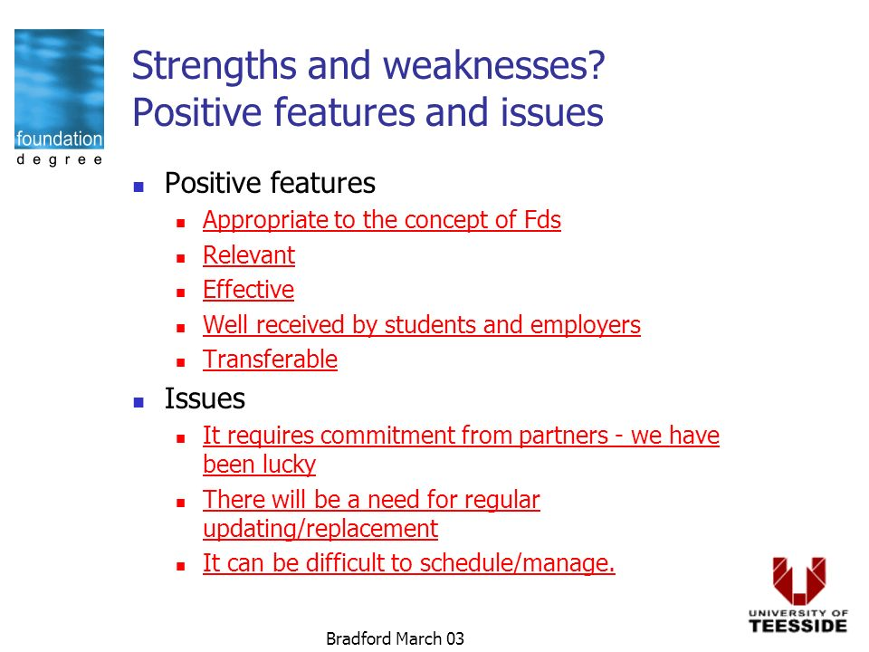 Bradford March 03 Strengths and weaknesses.