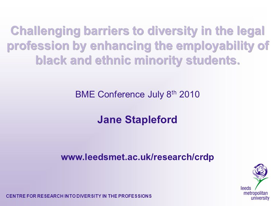CENTRE FOR RESEARCH INTO DIVERSITY IN THE PROFESSIONS 1.Brief introduction to research conducted by Professor Hilary Sommerlad and others in the Centre for Research into Diversity in the Professions (CRDP), into the barriers faced by students who do not fit the professional norm of the legal profession 2.