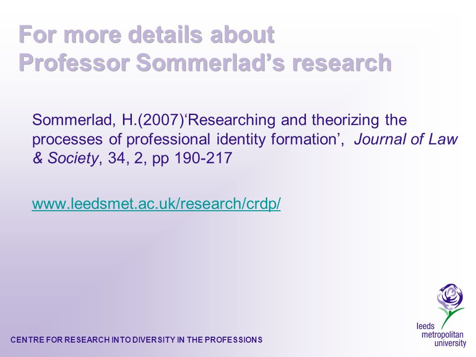 CENTRE FOR RESEARCH INTO DIVERSITY IN THE PROFESSIONS Sommerlad, H.(2007)Researching and theorizing the processes of professional identity formation, Journal of Law & Society, 34, 2, pp 190-217 www.leedsmet.ac.uk/research/crdp/