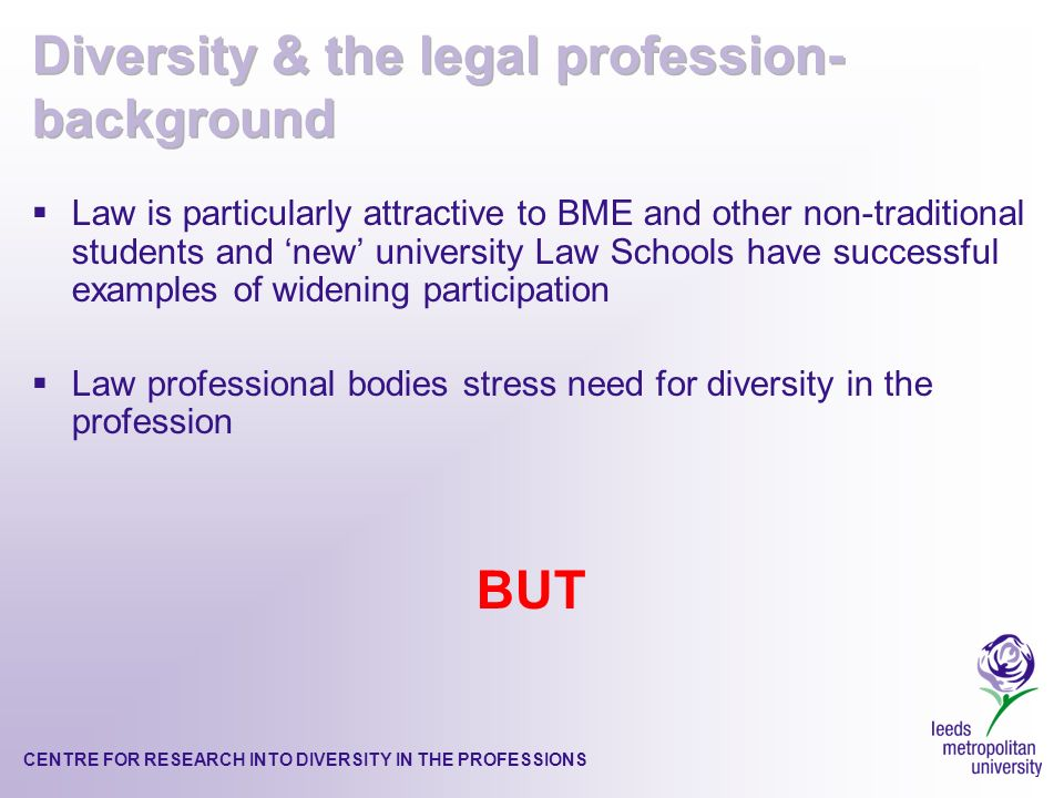 CENTRE FOR RESEARCH INTO DIVERSITY IN THE PROFESSIONS Law is particularly attractive to BME and other non-traditional students and new university Law Schools have successful examples of widening participation Law professional bodies stress need for diversity in the profession BUT