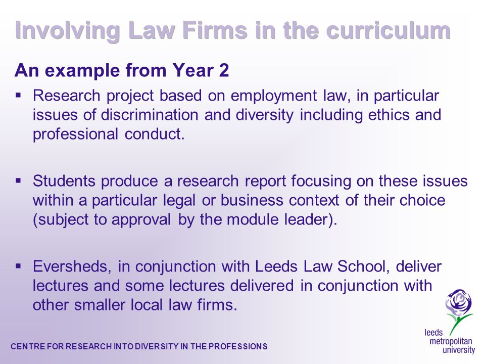 CENTRE FOR RESEARCH INTO DIVERSITY IN THE PROFESSIONS An example from Year 2 Research project based on employment law, in particular issues of discrimination and diversity including ethics and professional conduct.