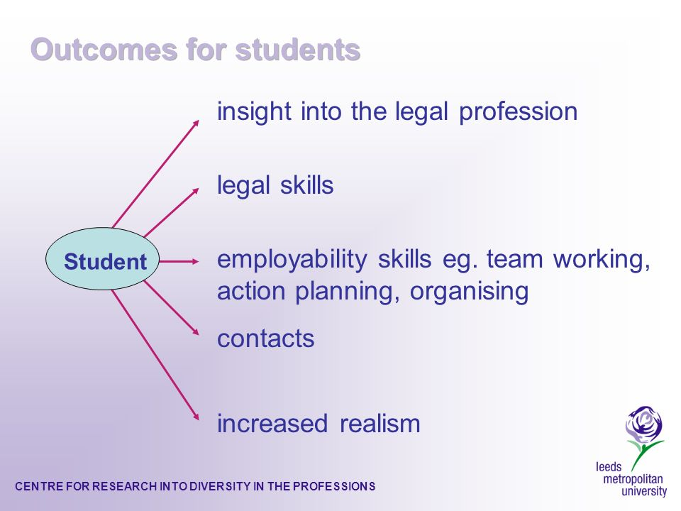 CENTRE FOR RESEARCH INTO DIVERSITY IN THE PROFESSIONS insight into the legal profession legal skills employability skills eg.