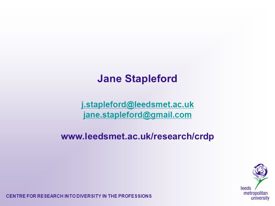 CENTRE FOR RESEARCH INTO DIVERSITY IN THE PROFESSIONS Jane Stapleford j.stapleford@leedsmet.ac.uk jane.stapleford@gmail.com www.leedsmet.ac.uk/research/crdp
